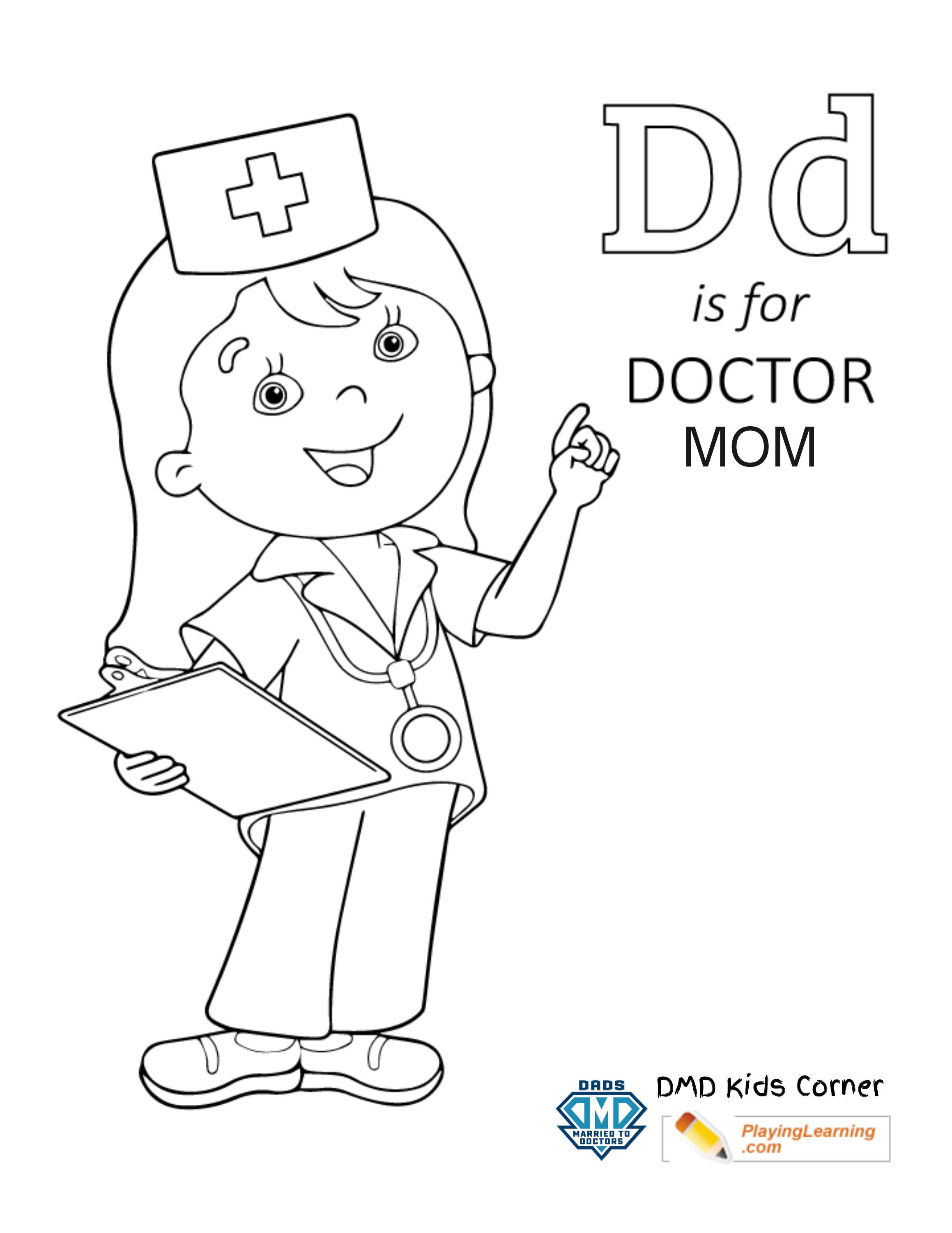 D is for Doctor Mom - Coloring Page